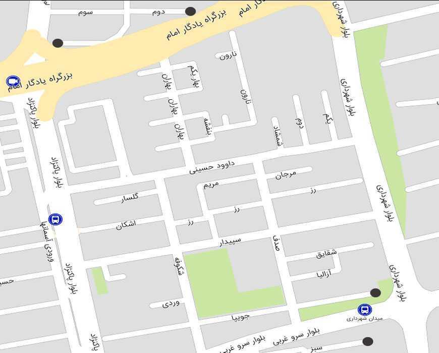 نقشه هوایی میدان شهرداری سعادت آباد