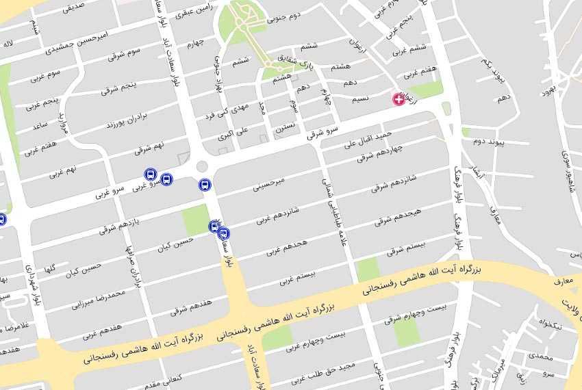 نقشه علامه سعادت آباد