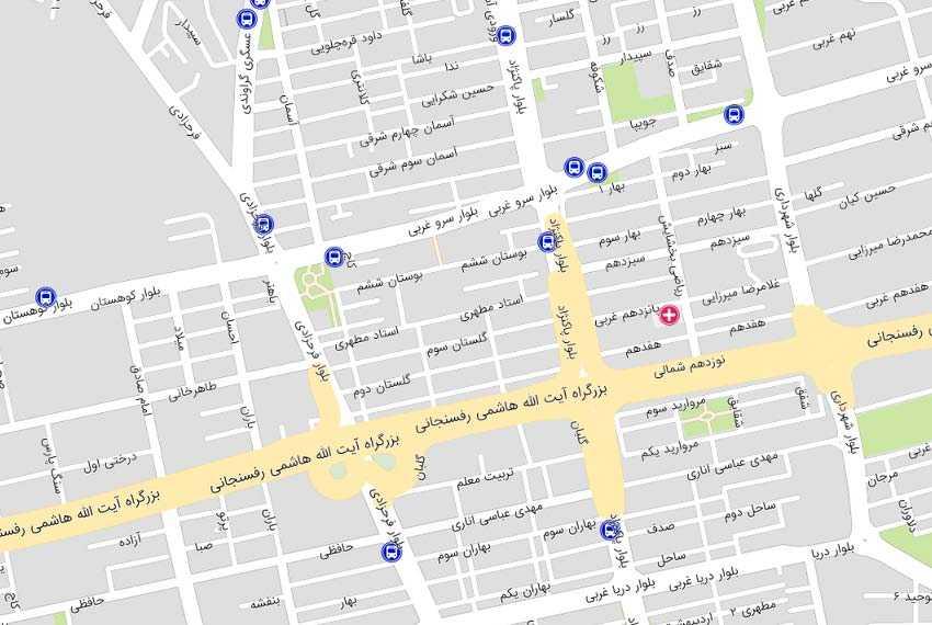 نقشه سرو سعادت آباد