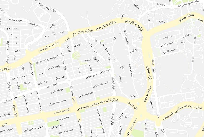 نقشه سعادت آباد بالای کاج