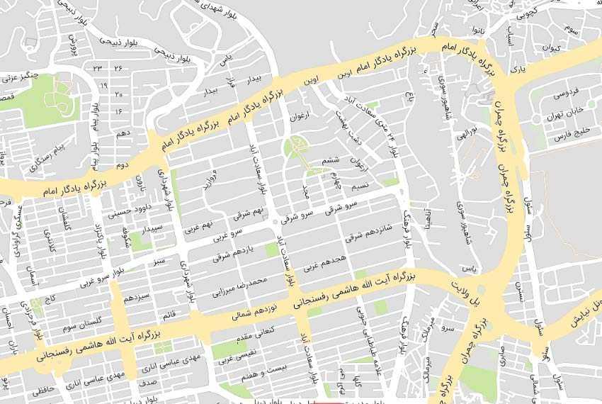 نقشه سعادت آباد سرو شرقی