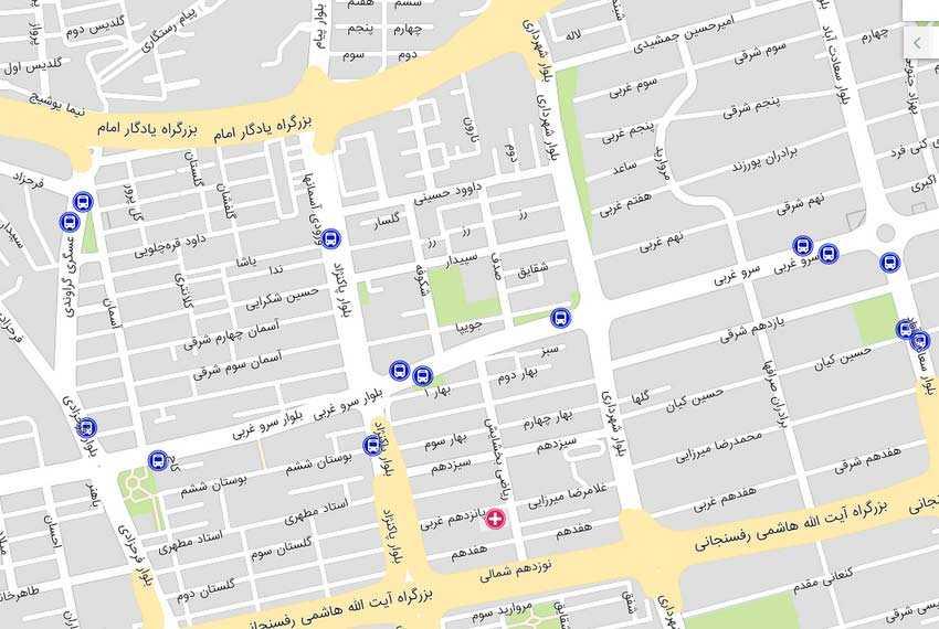 نقشه میدان شهرداری سعادت آباد