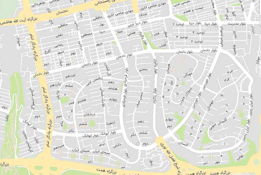 نقشه هوایی شهرک غرب