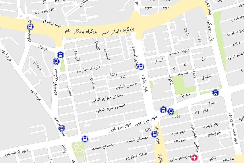 نقشه آسمان ها سعادت آباد