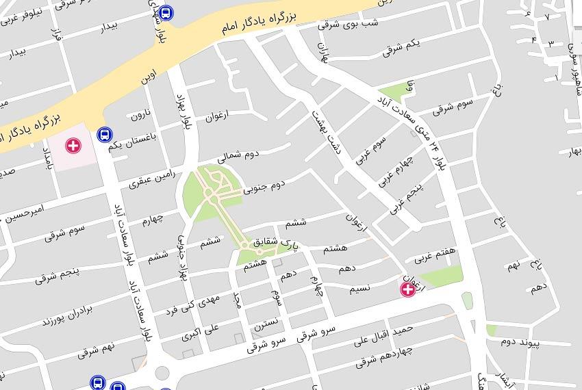 نقشه هوایی بالای میدان کاج