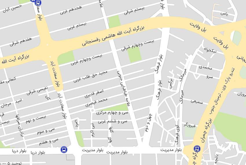 نقشه هوایی علامه سعادت آباد