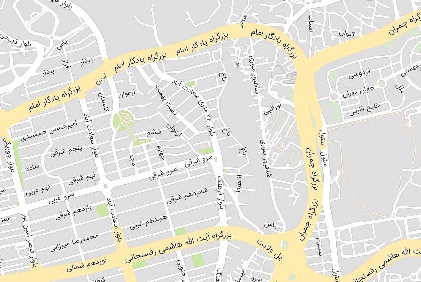 نقشه هوایی بلوار کشاورز