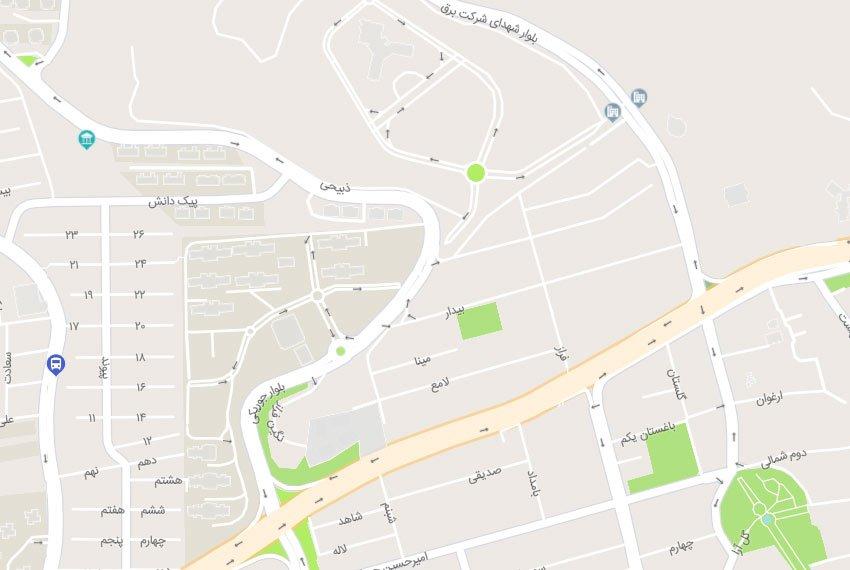 نقشه هوایی کوی فراز