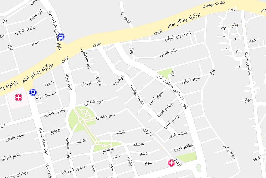 نقشه-سعادت-آباد-۲۴-متری