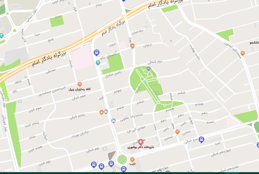 نقشه هوایی بالای کاج