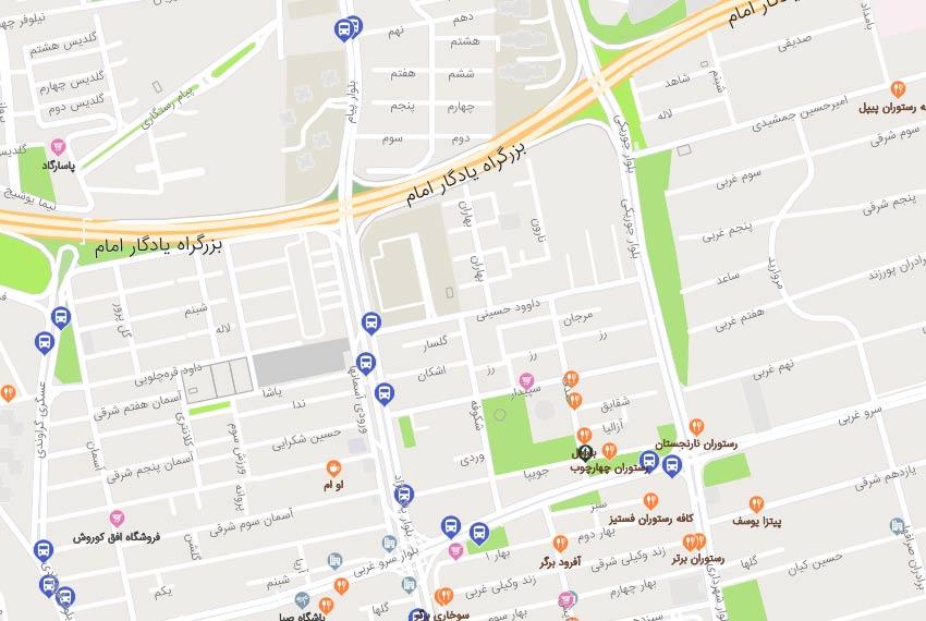 نقشه هوایی بلوار شهرداری