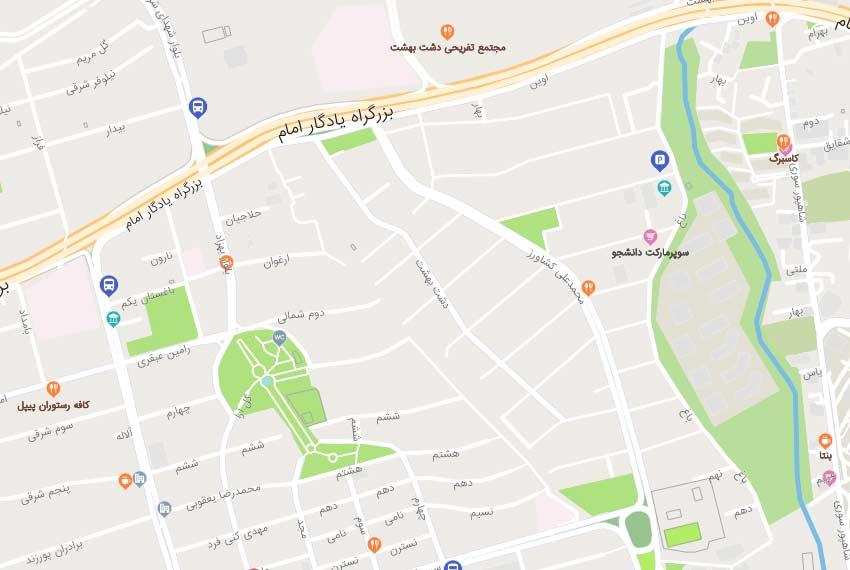 نقشه هوایی بلوار 24متری