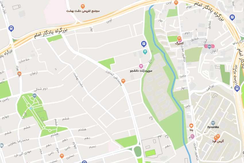 نقشه هوایی بلوار 24 متری