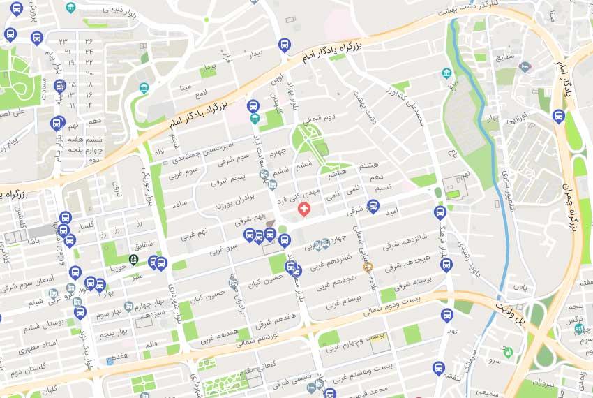 نقشه هوایی خیابان سرو