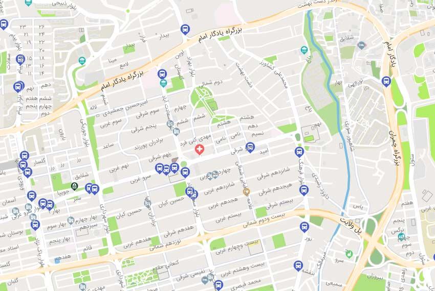 نقشه هوایی سعادت آباد