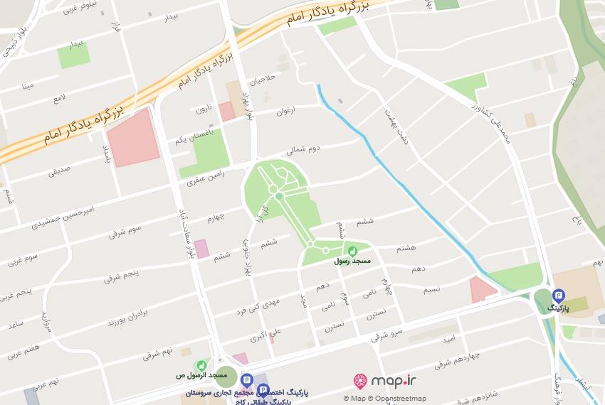 نقشه هوایی خیابان هشتم سعادت اباد